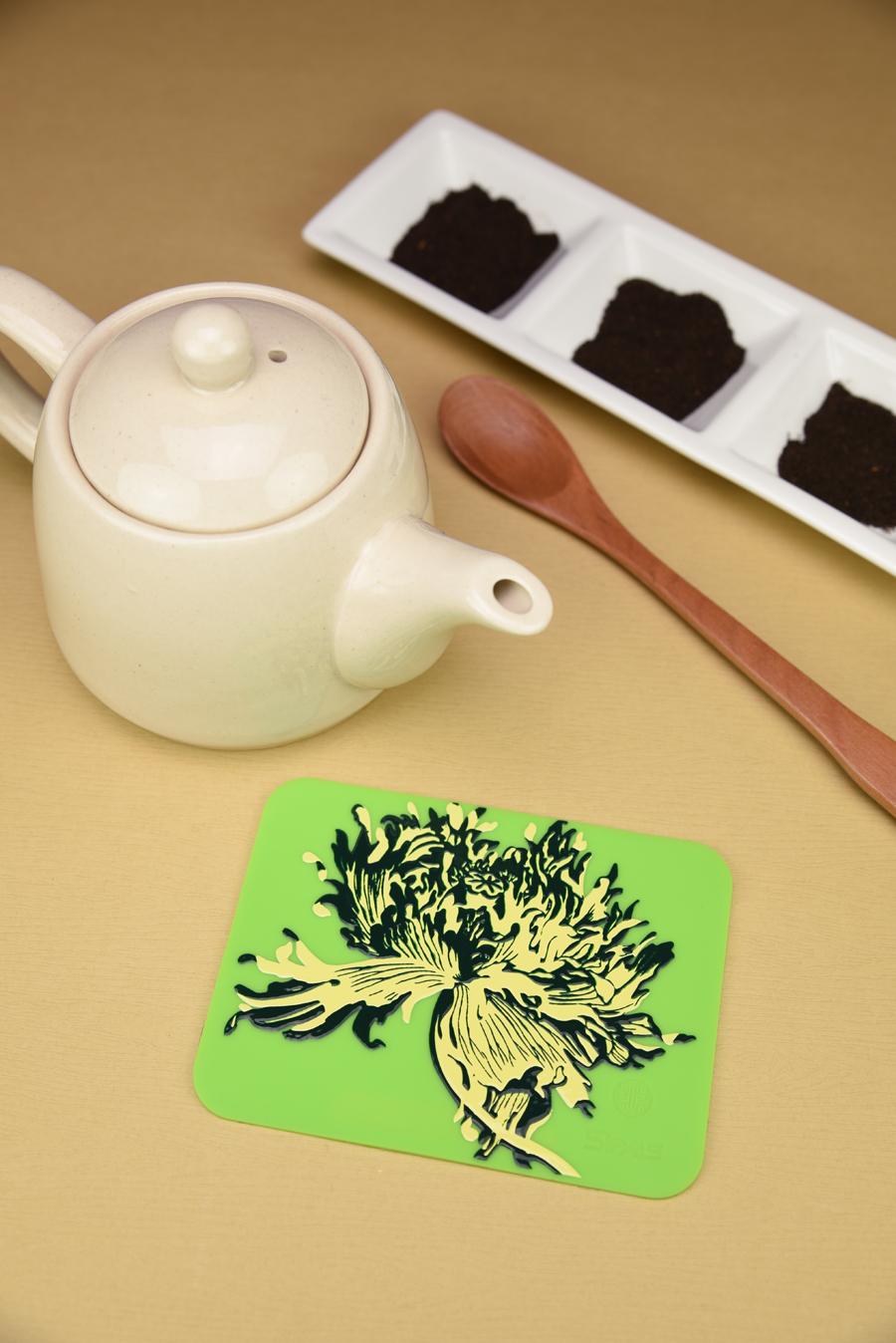 故宮授權-罌粟唯美杯墊,杯墊,喜朋,花,綠